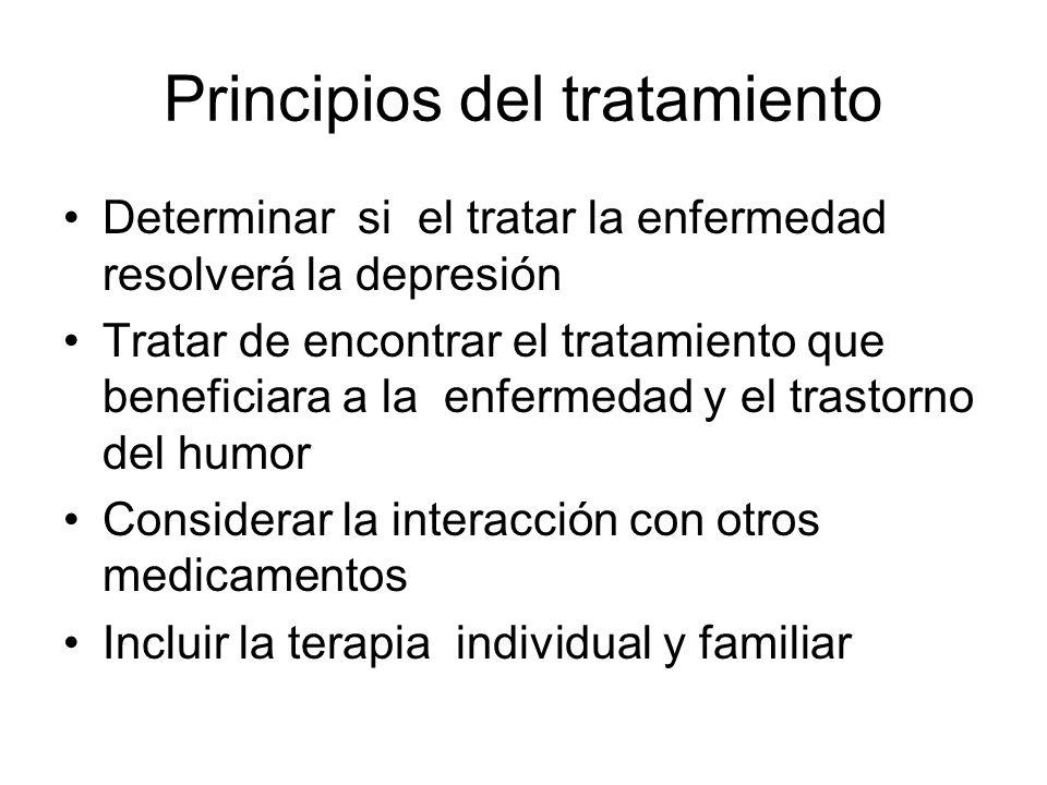 Principios del tratamiento Determinar si el tratar la enfermedad resolverá la depresión Tratar de encontrar el tratamiento que beneficiara a la enferm