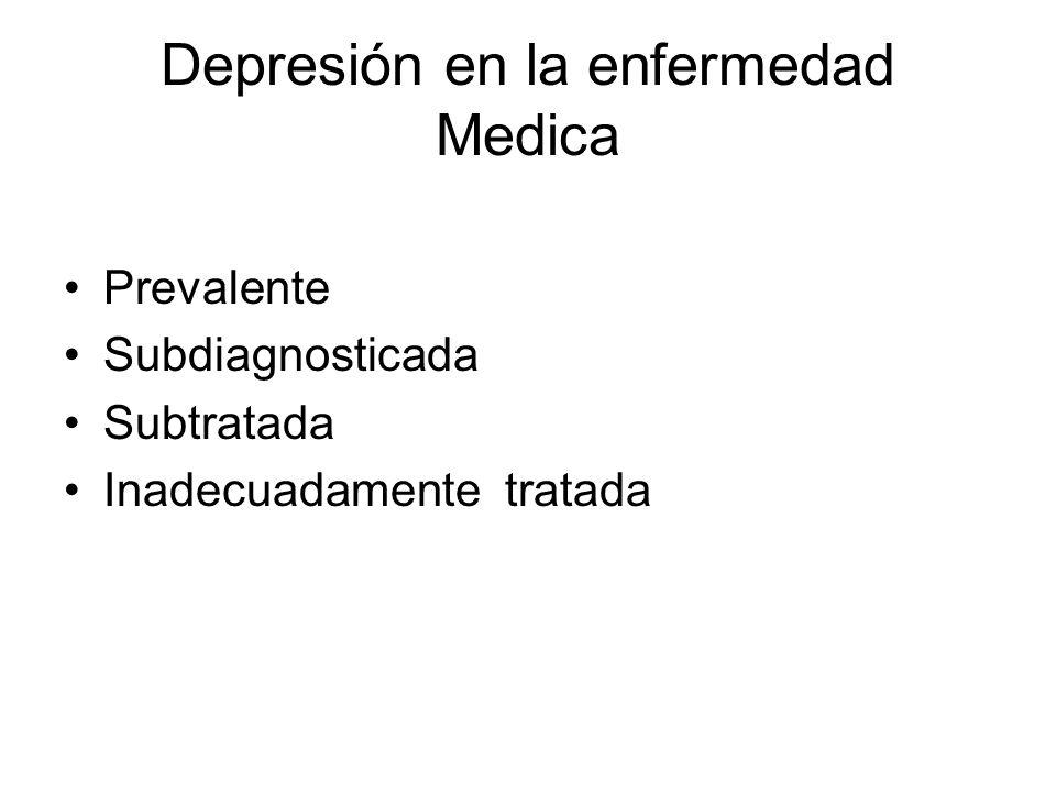 Depresión en la enfermedad Medica Prevalente Subdiagnosticada Subtratada Inadecuadamente tratada