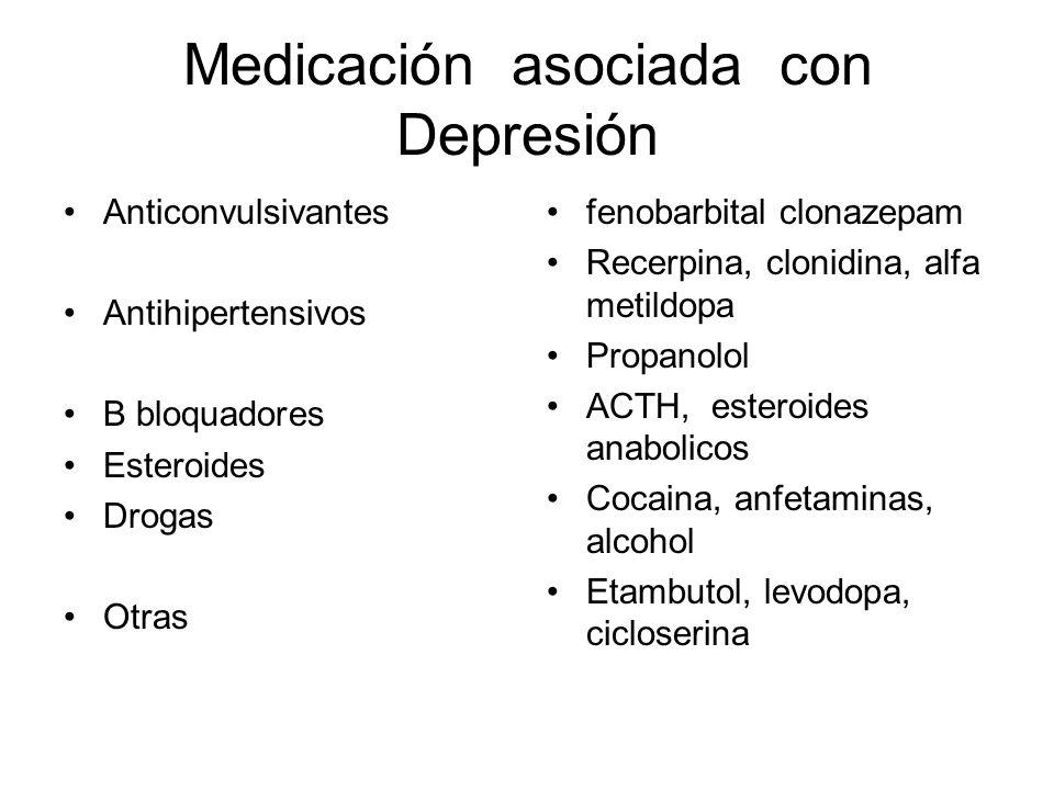 Medicación asociada con Depresión Anticonvulsivantes Antihipertensivos B bloquadores Esteroides Drogas Otras fenobarbital clonazepam Recerpina, clonid