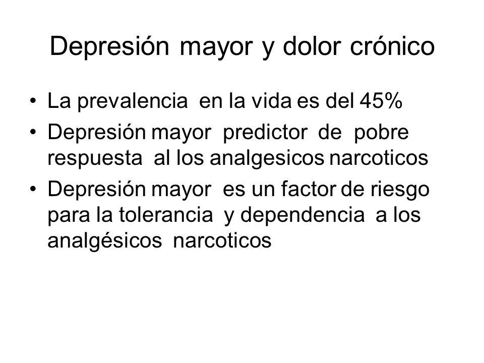 Depresión mayor y dolor crónico La prevalencia en la vida es del 45% Depresión mayor predictor de pobre respuesta al los analgesicos narcoticos Depres