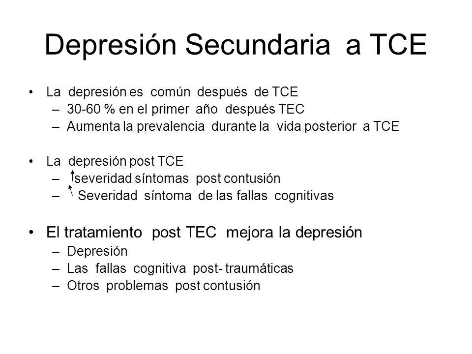 Depresión Secundaria a TCE La depresión es común después de TCE –30-60 % en el primer año después TEC –Aumenta la prevalencia durante la vida posterio
