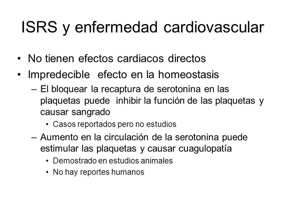 ISRS y enfermedad cardiovascular No tienen efectos cardiacos directos Impredecible efecto en la homeostasis –El bloquear la recaptura de serotonina en