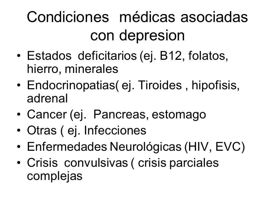 Enfermedades medicas que comúnmente causan depresión Maligno y hematológico –Pancreas –Mamas –Cerebro –Pulmon –Linfoma –Anemias Anemia perniciosa