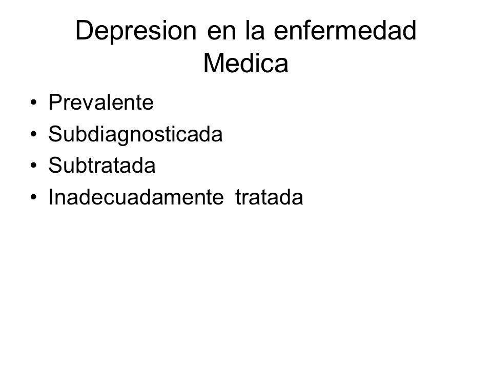Enfermedades medicas que comúnmente causan depresion Neurológica –Traumatismo cerebral –Enfermedad de Parkinson –EVC prefrontal izquierdo y ganglios basales –Enfermedad de Huntington –Tumor cerebral –Demencia