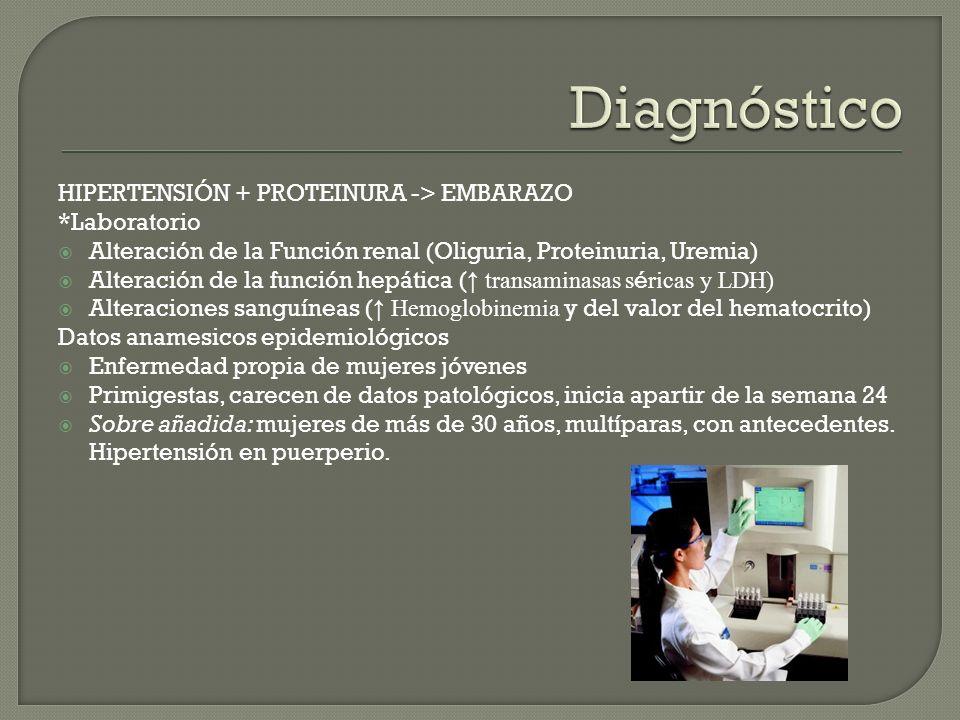 HIPERTENSIÓN + PROTEINURA -> EMBARAZO *Laboratorio Alteración de la Función renal (Oliguria, Proteinuria, Uremia) Alteración de la función hepática (