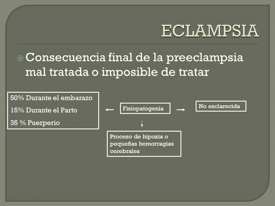Consecuencia final de la preeclampsia mal tratada o imposible de tratar Fisiopatogenia No esclarecida Proceso de hipoxia o pequeñas hemorragias cerebr