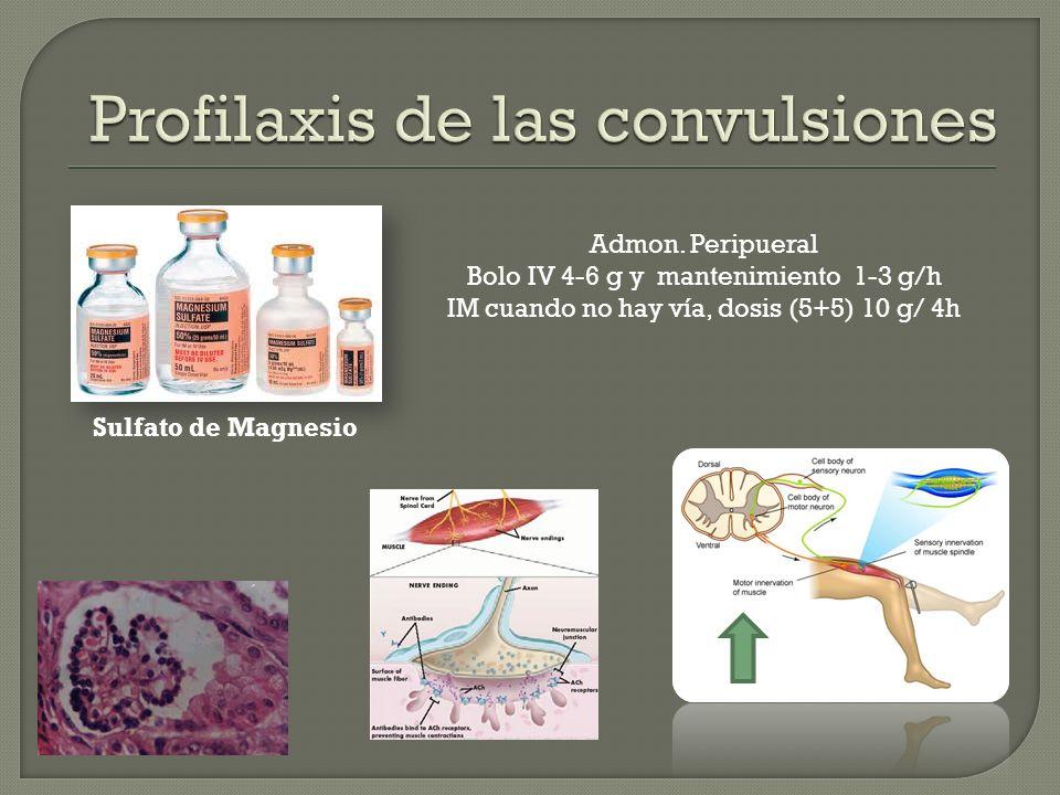 Sulfato de Magnesio Admon. Peripueral Bolo IV 4-6 g y mantenimiento 1-3 g/h IM cuando no hay vía, dosis (5+5) 10 g/ 4h