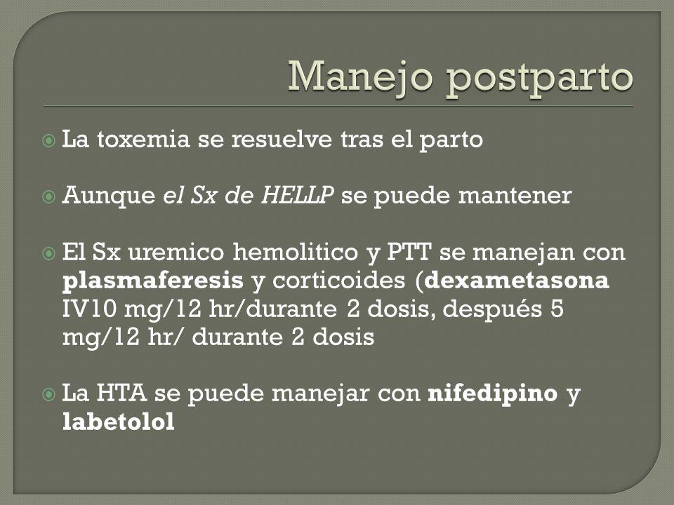 La toxemia se resuelve tras el parto Aunque el Sx de HELLP se puede mantener El Sx uremico hemolitico y PTT se manejan con plasmaferesis y corticoides