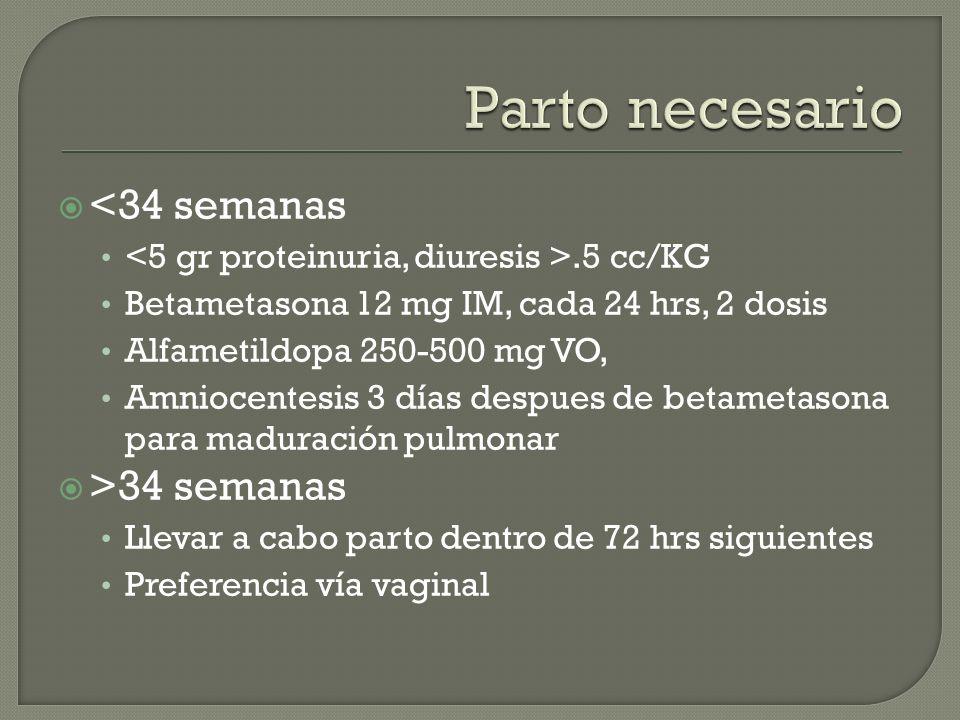 <34 semanas.5 cc/KG Betametasona 12 mg IM, cada 24 hrs, 2 dosis Alfametildopa 250-500 mg VO, Amniocentesis 3 días despues de betametasona para madurac