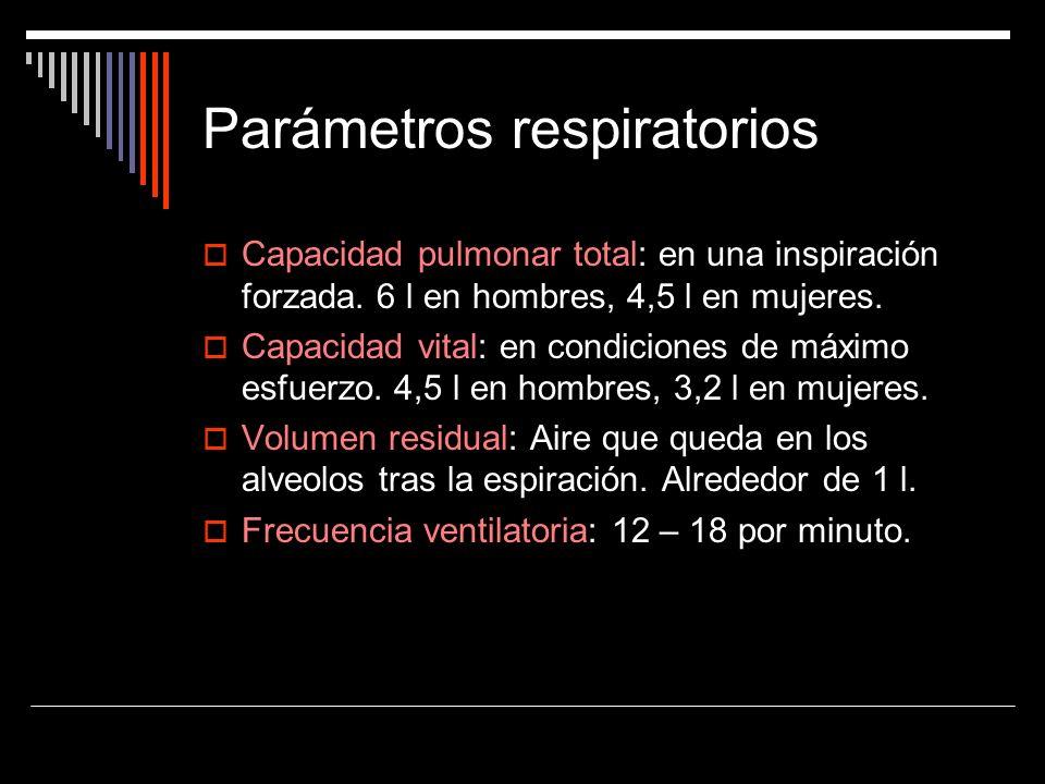 Parámetros respiratorios Capacidad pulmonar total: en una inspiración forzada. 6 l en hombres, 4,5 l en mujeres. Capacidad vital: en condiciones de má
