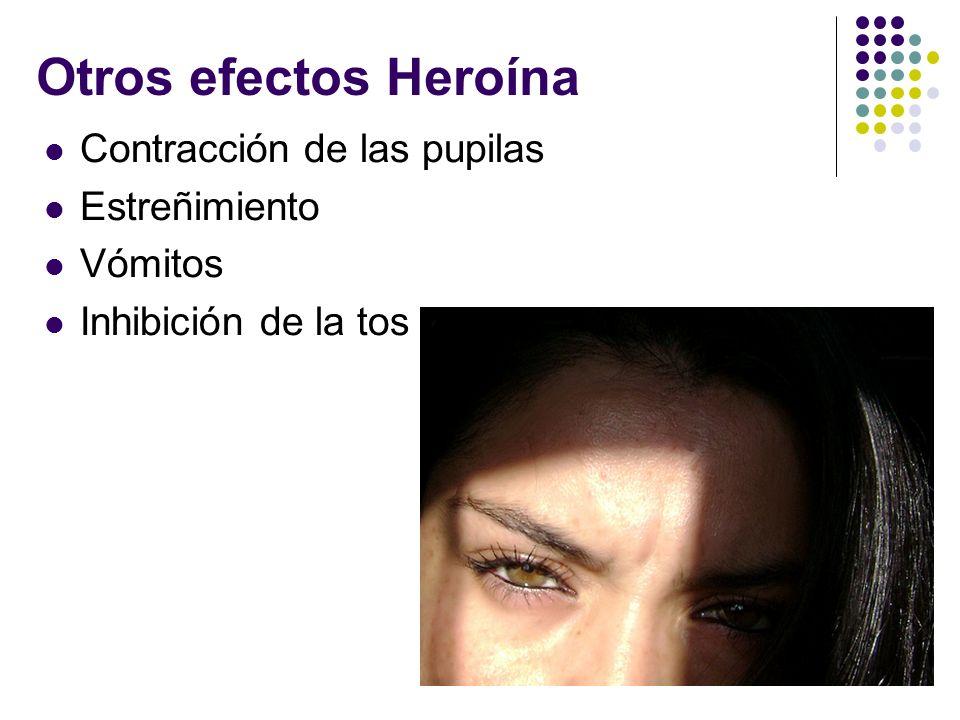 Otros efectos Heroína Contracción de las pupilas Estreñimiento Vómitos Inhibición de la tos