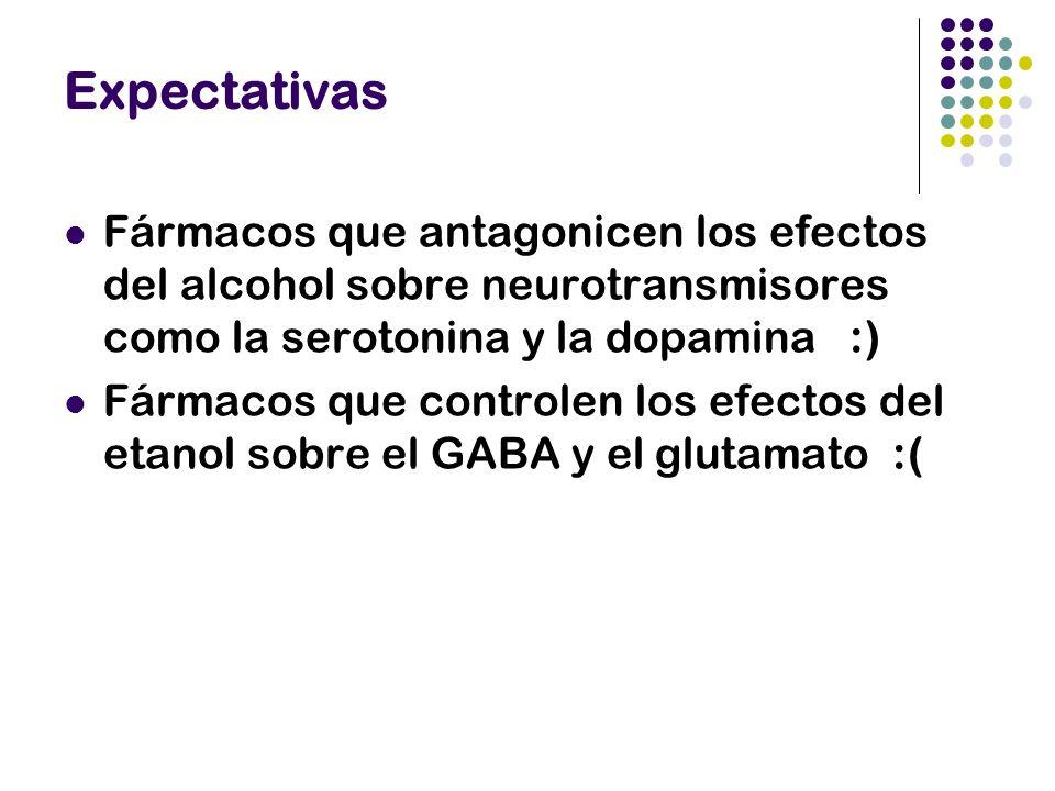Expectativas Fármacos que antagonicen los efectos del alcohol sobre neurotransmisores como la serotonina y la dopamina :) Fármacos que controlen los e