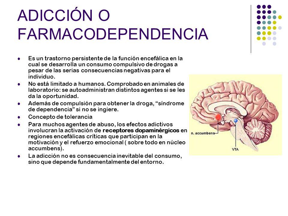 ADICCIÓN O FARMACODEPENDENCIA Es un trastorno persistente de la función encefálica en la cual se desarrolla un consumo compulsivo de drogas a pesar de