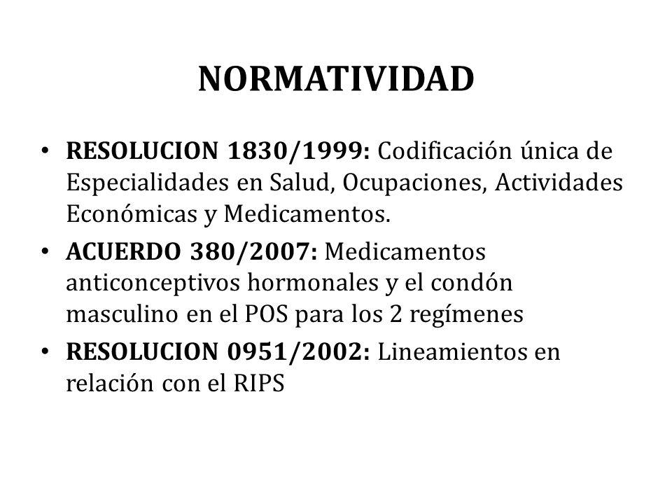 NORMATIVIDAD RESOLUCION 1830/1999: Codificación única de Especialidades en Salud, Ocupaciones, Actividades Económicas y Medicamentos. ACUERDO 380/2007