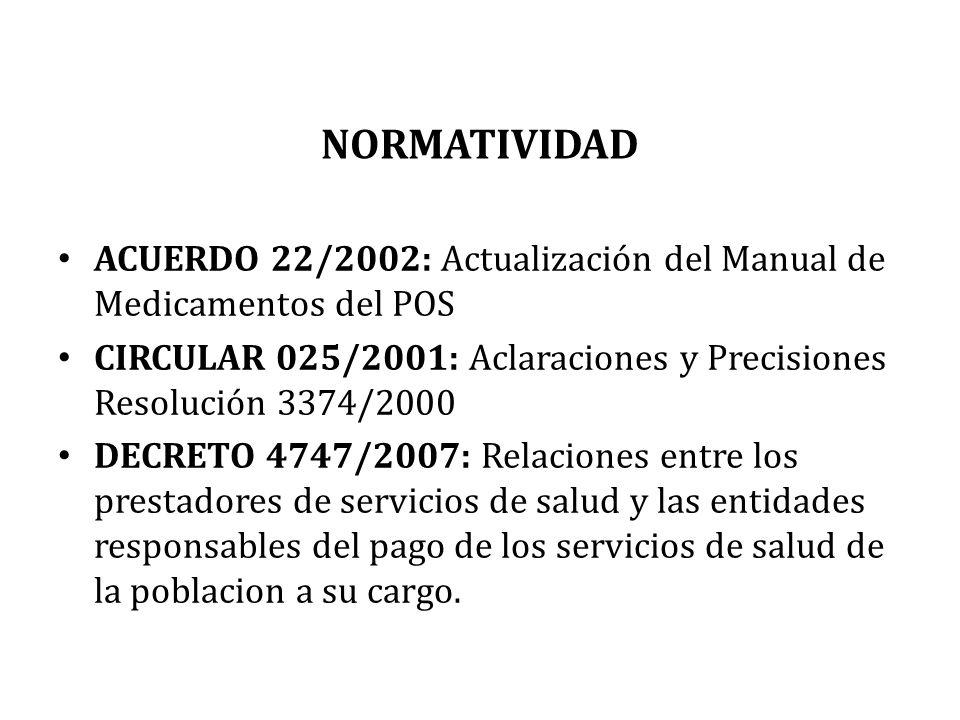 NORMATIVIDAD ACUERDO 22/2002: Actualización del Manual de Medicamentos del POS CIRCULAR 025/2001: Aclaraciones y Precisiones Resolución 3374/2000 DECR