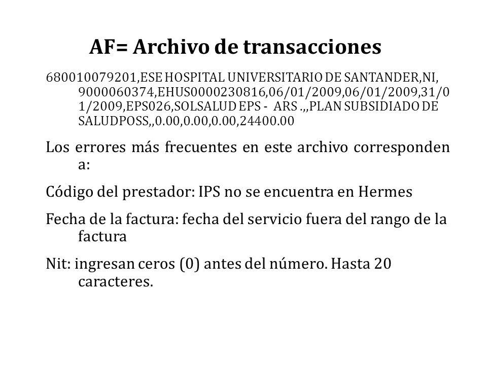 AF= Archivo de transacciones 680010079201,ESE HOSPITAL UNIVERSITARIO DE SANTANDER,NI, 9000060374,EHUS0000230816,06/01/2009,06/01/2009,31/0 1/2009,EPS0