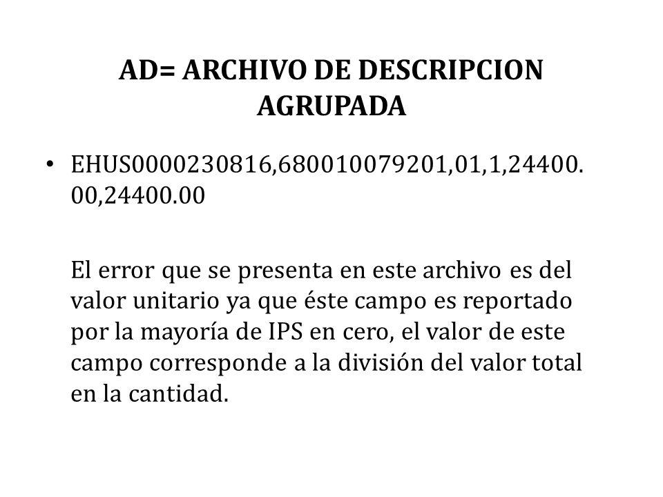 AD= ARCHIVO DE DESCRIPCION AGRUPADA EHUS0000230816,680010079201,01,1,24400. 00,24400.00 El error que se presenta en este archivo es del valor unitario