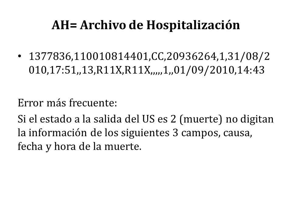 AH= Archivo de Hospitalización 1377836,110010814401,CC,20936264,1,31/08/2 010,17:51,,13,R11X,R11X,,,,,1,,01/09/2010,14:43 Error más frecuente: Si el e