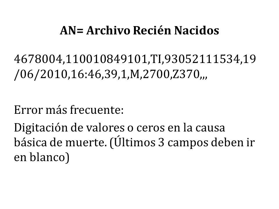 AN= Archivo Recién Nacidos 4678004,110010849101,TI,93052111534,19 /06/2010,16:46,39,1,M,2700,Z370,,, Error más frecuente: Digitación de valores o cero
