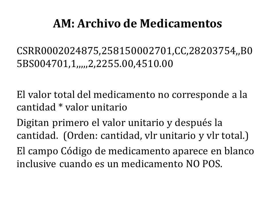 AM: Archivo de Medicamentos CSRR0002024875,258150002701,CC,28203754,,B0 5BS004701,1,,,,,2,2255.00,4510.00 El valor total del medicamento no correspond