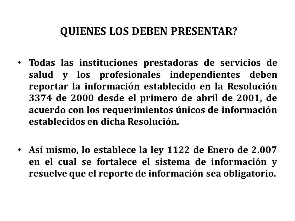 Todas las instituciones prestadoras de servicios de salud y los profesionales independientes deben reportar la información establecido en la Resolució
