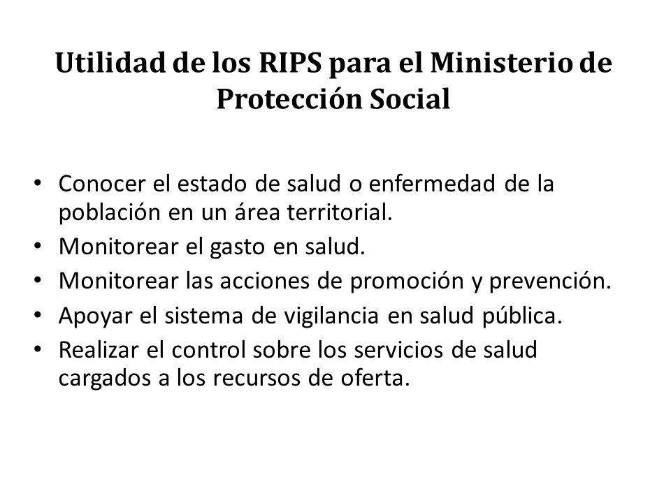 Utilidad de los RIPS para el Ministerio de Protección Social Conocer el estado de salud o enfermedad de la población en un área territorial. Monitorea
