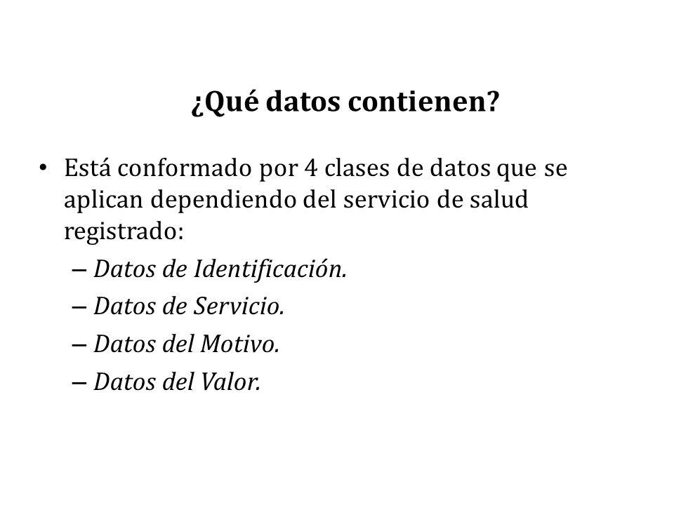¿Qué datos contienen? Está conformado por 4 clases de datos que se aplican dependiendo del servicio de salud registrado: – Datos de Identificación. –