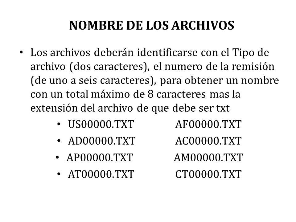 NOMBRE DE LOS ARCHIVOS Los archivos deberán identificarse con el Tipo de archivo (dos caracteres), el numero de la remisión (de uno a seis caracteres)