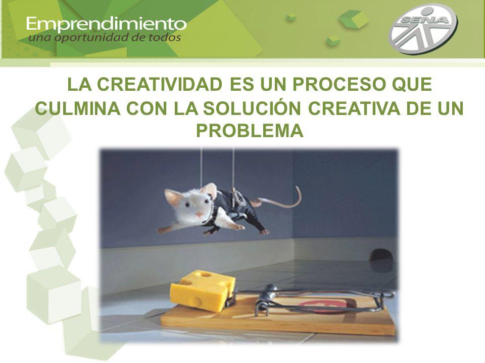 LA CREATIVIDAD ES UN PROCESO QUE CULMINA CON LA SOLUCIÓN CREATIVA DE UN PROBLEMA
