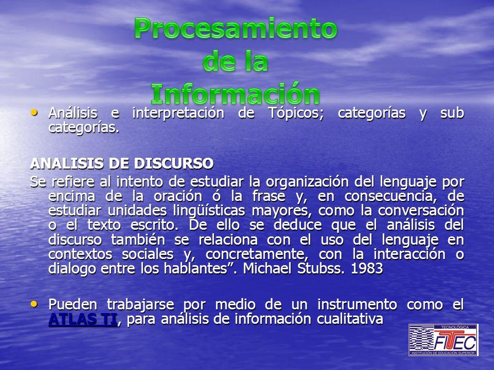 Análisis e interpretación de Tópicos; categorías y sub categorías. Análisis e interpretación de Tópicos; categorías y sub categorías. ANALISIS DE DISC