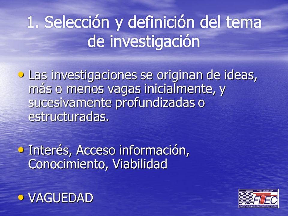 Las investigaciones se originan de ideas, más o menos vagas inicialmente, y sucesivamente profundizadas o estructuradas. Las investigaciones se origin
