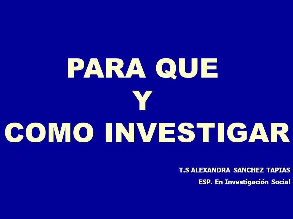 T.S ALEXANDRA SANCHEZ TAPIAS ESP. En Investigación Social PARA QUE Y COMO INVESTIGAR