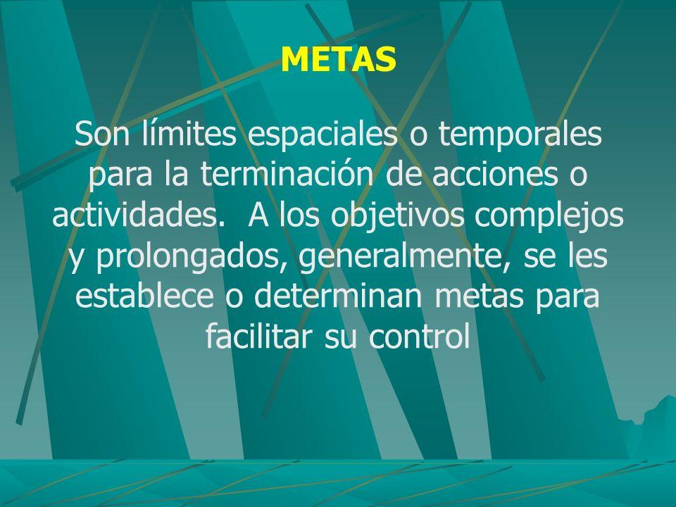 METAS Son límites espaciales o temporales para la terminación de acciones o actividades. A los objetivos complejos y prolongados, generalmente, se les