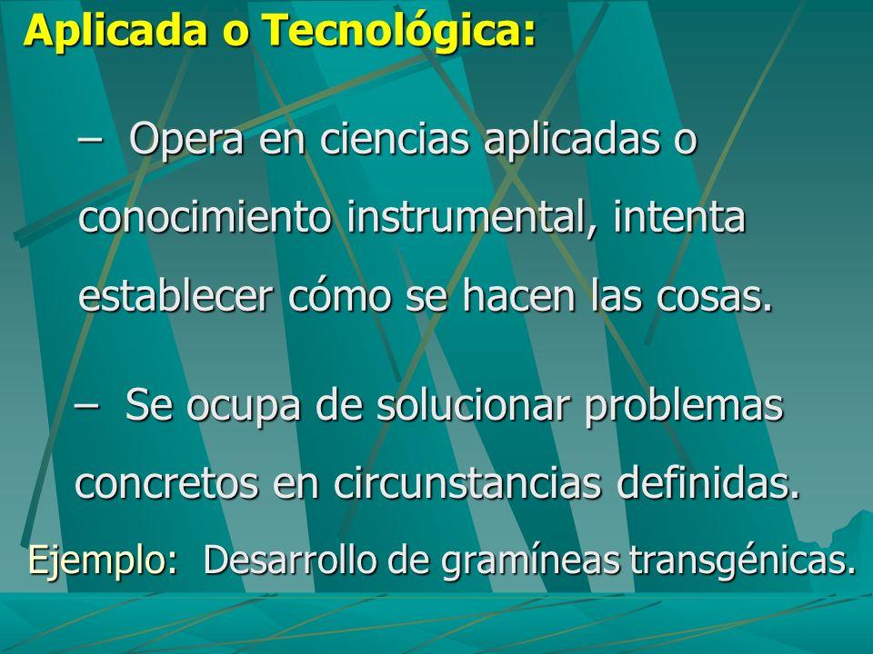 Aplicada o Tecnológica: Ejemplo: Desarrollo de gramíneas transgénicas. – Opera en ciencias aplicadas o conocimiento instrumental, intenta establecer c