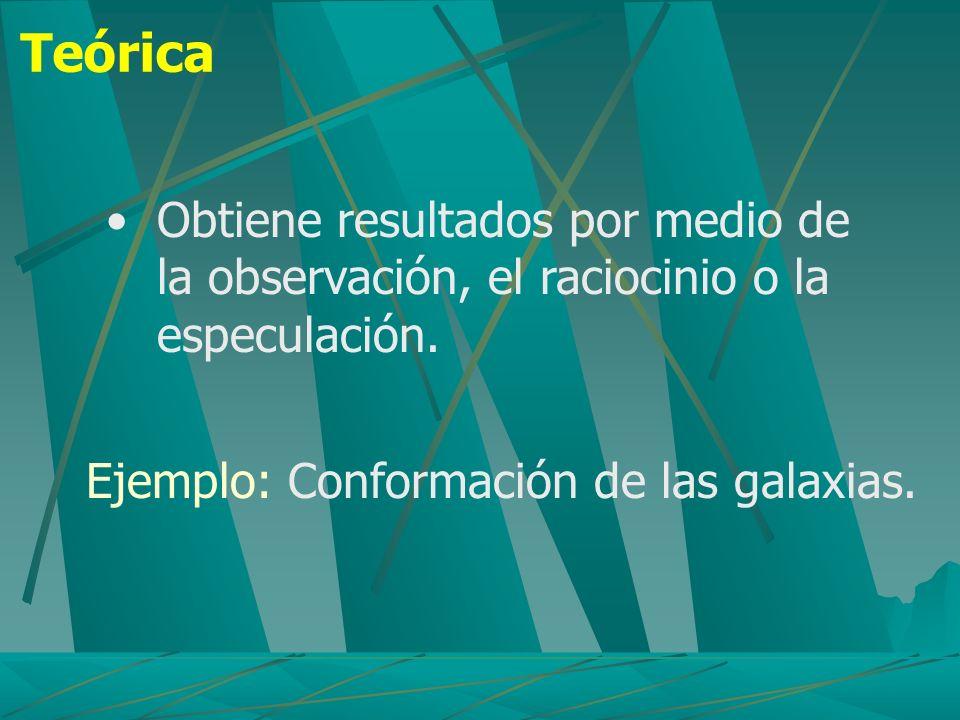 Teórica Obtiene resultados por medio de la observación, el raciocinio o la especulación. Ejemplo: Conformación de las galaxias.