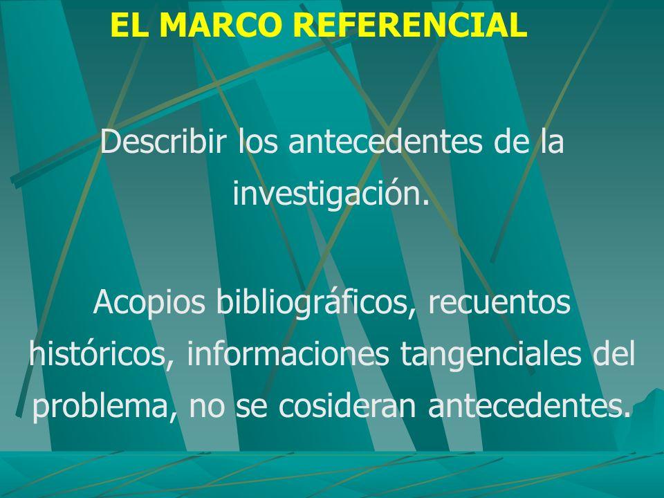 EL MARCO REFERENCIAL Describir los antecedentes de la investigación. Acopios bibliográficos, recuentos históricos, informaciones tangenciales del prob