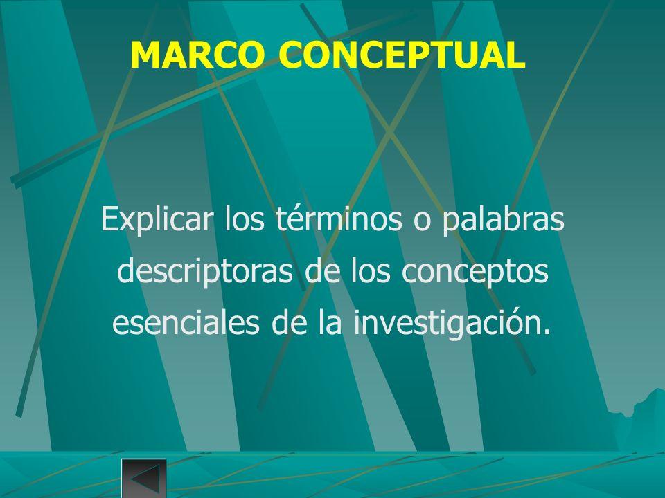 Explicar los términos o palabras descriptoras de los conceptos esenciales de la investigación. MARCO CONCEPTUAL
