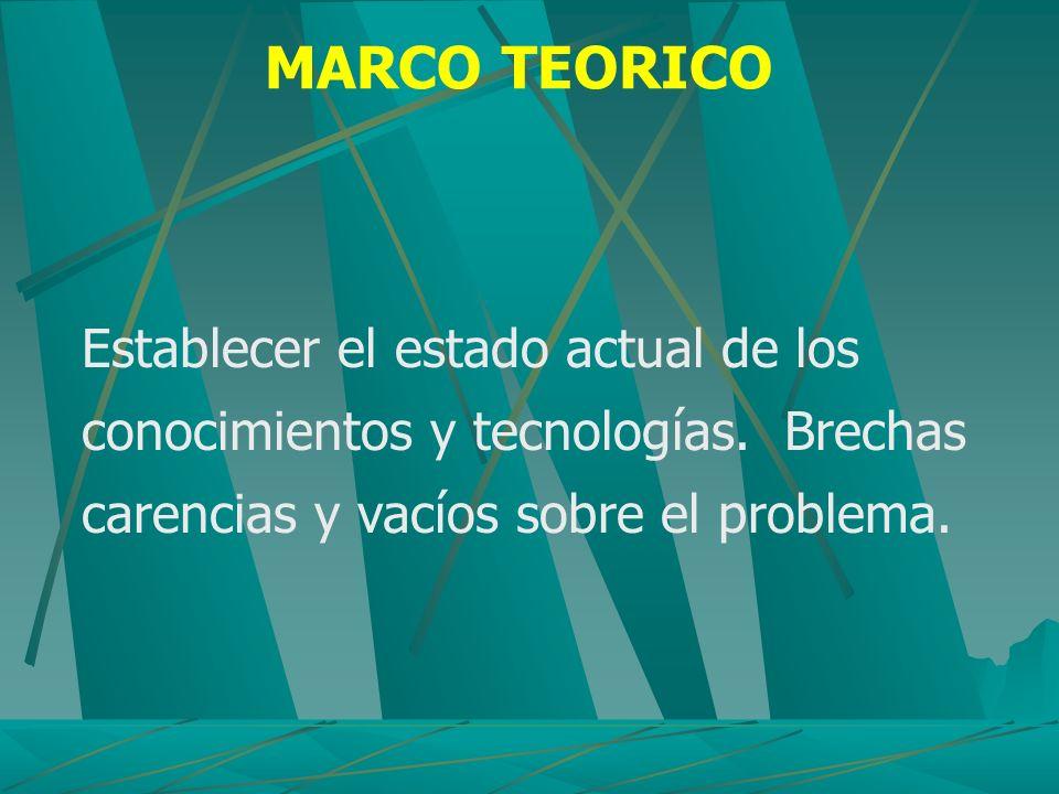 MARCO TEORICO Establecer el estado actual de los conocimientos y tecnologías. Brechas carencias y vacíos sobre el problema.