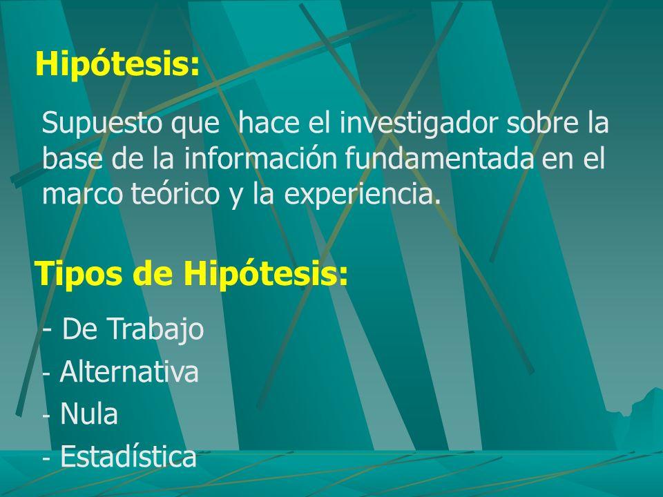 Hipótesis: Supuesto que hace el investigador sobre la base de la información fundamentada en el marco teórico y la experiencia. Tipos de Hipótesis: -