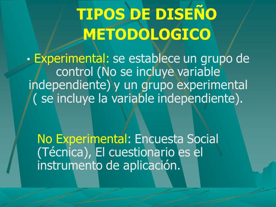 Experimental: se establece un grupo de control (No se incluye variable independiente) y un grupo experimental ( se incluye la variable independiente).