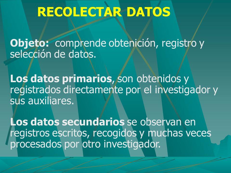 RECOLECTAR DATOS Objeto: comprende obtenición, registro y selección de datos. Los datos primarios, son obtenidos y registrados directamente por el inv