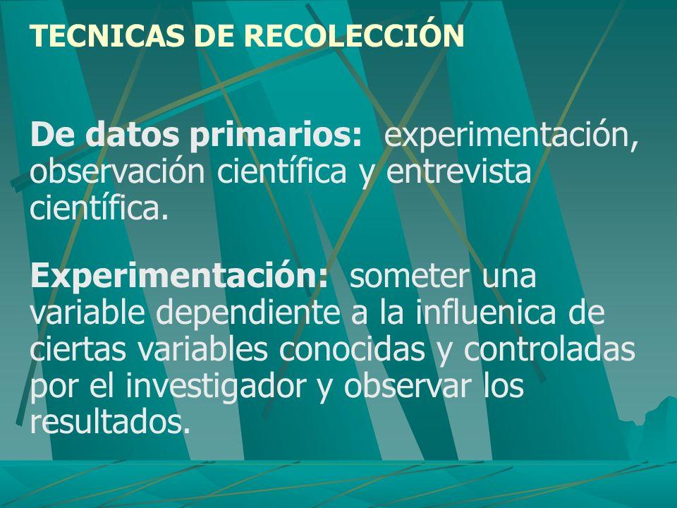 TECNICAS DE RECOLECCIÓN De datos primarios: experimentación, observación científica y entrevista científica. Experimentación: someter una variable dep