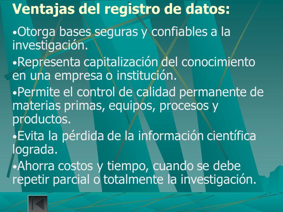 Ventajas del registro de datos: Otorga bases seguras y confiables a la investigación. Representa capitalización del conocimiento en una empresa o inst