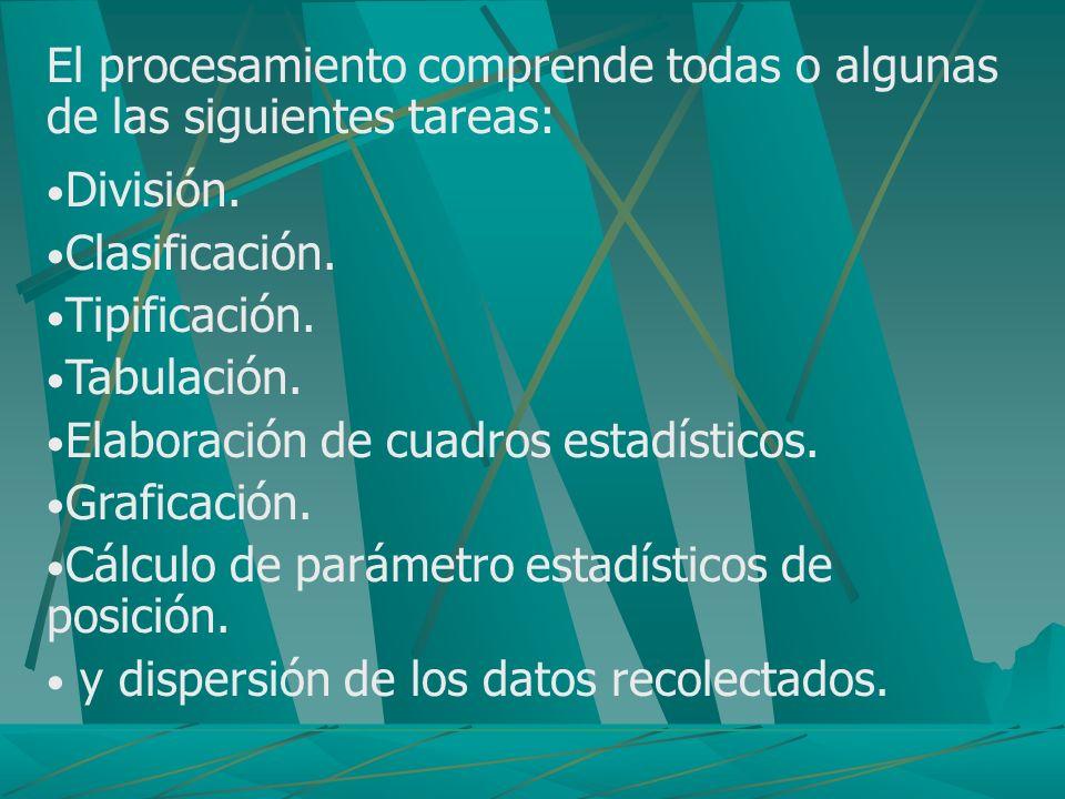 El procesamiento comprende todas o algunas de las siguientes tareas: División. Clasificación. Tipificación. Tabulación. Elaboración de cuadros estadís