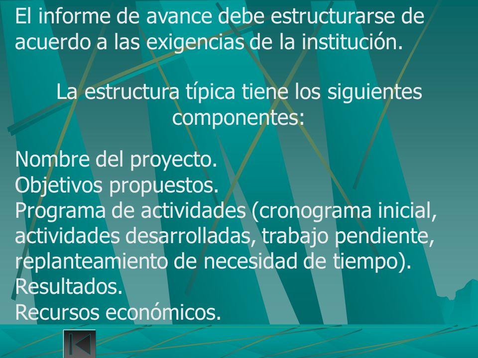 La estructura típica tiene los siguientes componentes: Nombre del proyecto. Objetivos propuestos. Programa de actividades (cronograma inicial, activid