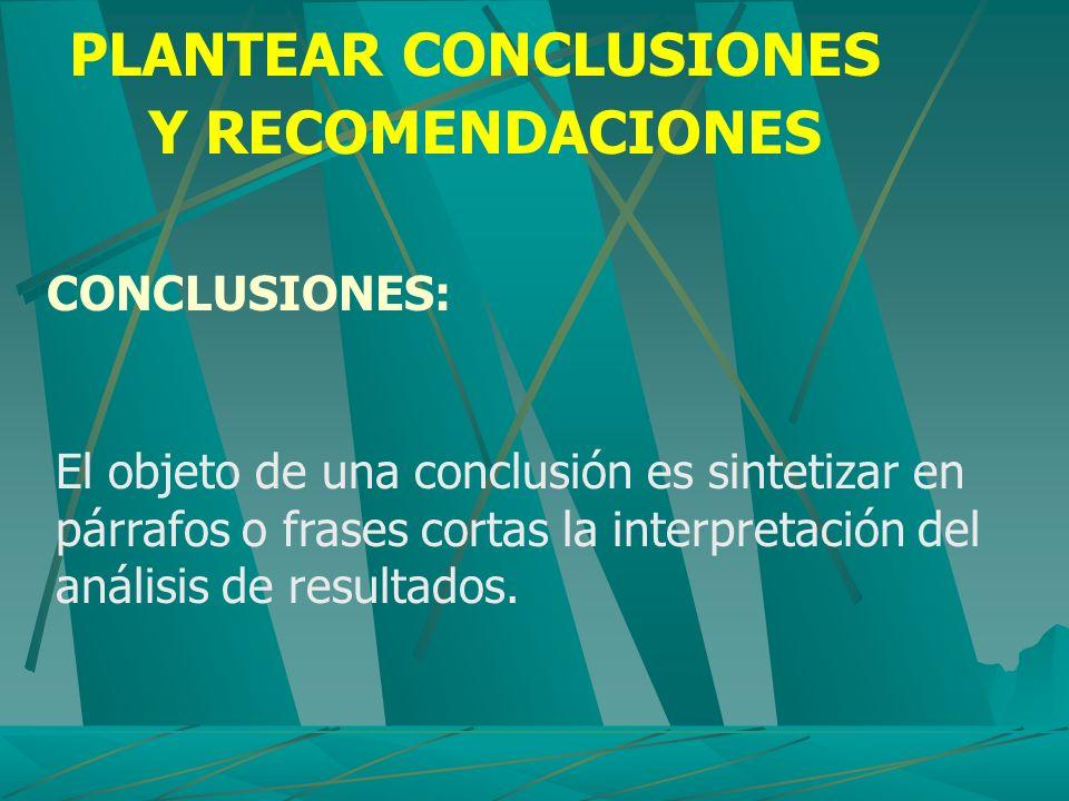 PLANTEAR CONCLUSIONES Y RECOMENDACIONES CONCLUSIONES: El objeto de una conclusión es sintetizar en párrafos o frases cortas la interpretación del anál