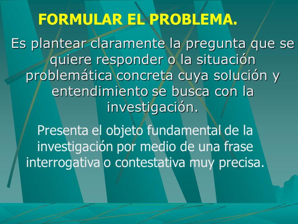 Es plantear claramente la pregunta que se quiere responder o la situación problemática concreta cuya solución y entendimiento se busca con la investig
