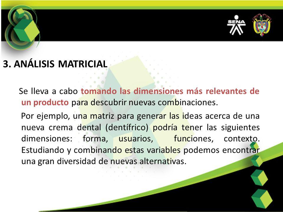 3. ANÁLISIS MATRICIAL Se lleva a cabo tomando las dimensiones más relevantes de un producto para descubrir nuevas combinaciones. Por ejemplo, una matr