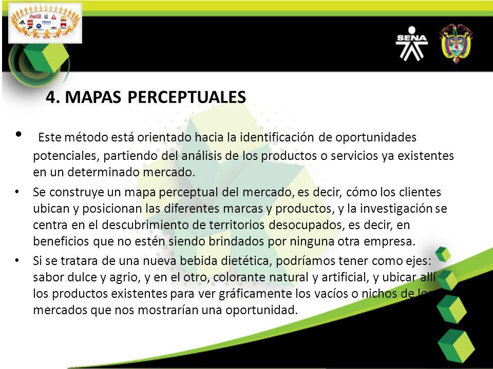 4. MAPAS PERCEPTUALES Este método está orientado hacia la identificación de oportunidades potenciales, partiendo del análisis de los productos o servi