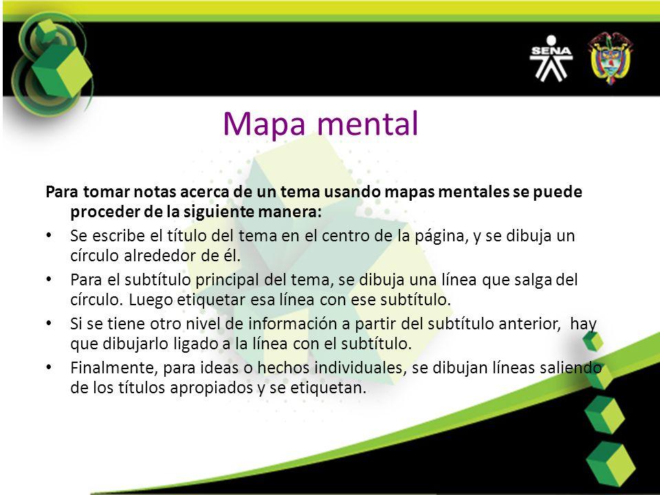 Mapa mental Para tomar notas acerca de un tema usando mapas mentales se puede proceder de la siguiente manera: Se escribe el título del tema en el cen
